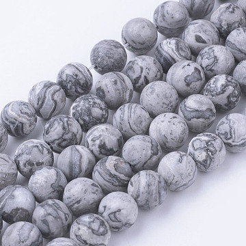 Natural Map Stone/Picasso Stone/Picasso Jasper Bead Strands, Frosted, Round, 8~8.5mm, Hole: 1mm; about 45~47pcs/strand, 14.9''(38cm)(G-G735-27F-8mm)