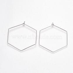 Brass Earring Hooks, Hexagon, Nickel Free, Real Platinum Plated, 20 Gauge, 51~52x43~44x0.8mm; Pin: 0.8mm(X-KK-T038-424B-P)