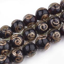 Perles vernissées de sable d'or manuelles , rond, noir, 11.5~12.5x11~12mm, Trou: 1.5~2mm(X-LAMP-T006-07A)