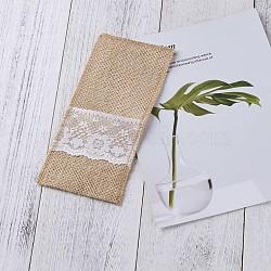 Décoration de vaisselle de fête d'anniversaire de mariage, sac de rangement en dentelle de lin, fournitures de coutellerie de table de noël, burlywood, 22.8x10.3x0.2 cm(AJEW-TAC0004-01)