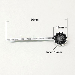 Accessoires bobby épingle à cheveux en fer, avec des plateaux ronds en laiton, argenterie, 60mm(IFIN-I013-S)