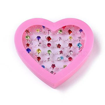 Acrylic Rings for Kids, Mixed Shapes, Mixed Color, US Size 4 1/4(15mm); 36pcs/box(RJEW-E163-02)