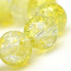 "Chapelets de perles en verre craquelé peint, rond, jaune, 4 mm; trou: 1.1~1.3 mm; environ 200 pcs / brin, 31.4""(X-CCG-S001-4mm-04)"