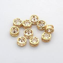 véritables perles de strass en laiton plaqué or 18 k, plat rond avec motif de trèfle, cristal, 8x4 mm, trou: 2x6 mm(KK-J199-01G)