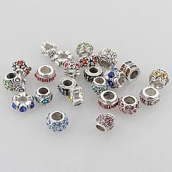 Mixed Style Antique Silver Zinc Alloy Rhinestone Large Hole Beads, 6~12x10~12x6~10mm, Hole: 5~6mm(ALRI-L014-M)
