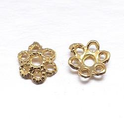 véritables 18 k plaqués or 6 - chapeaux de perles en argent sterling à pétales, fleur, or, 5.5x1.5 mm, trou: 1.2 mm; environ 222 pcs / 20 g(STER-M100-23)