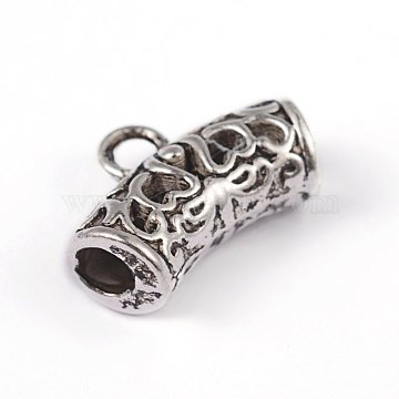 Hollow Tube Tibetan Style Alloy Hanger Links, Cadmium Free, Inner Diameter: Lead Free, Antique Silver, 9x14x5mm, Hole: 2mm, Inner Diameter: 2.7mm(X-TIBE-ZN-63354-AS-RS)