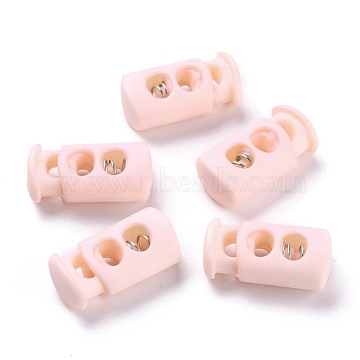 Plastic Spring Cord Lock Stopper Cylinder, with Iron Findings, 2-Hole, Platinum, Pink, 23.5x12x8.5mm, Hole: 6x3.5mm(FIND-I013-A15)