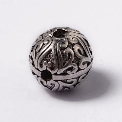 alliage de style tibétain 3 perles trou gourou, perles t-percées, arrondir, argent antique, 11.5x11 mm, trou: 2 mm et 2.5 mm(X-TIBEB-YC65976-AS)