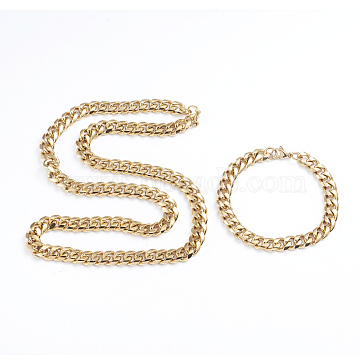 Unisex 304 Stainless Steel Curb Chain Bracelet & Necklace Jewelry Sets, with Lobster Claw Clasps, Golden, 7-7/8 inches(20cm); 23.62 inches(60cm)(X-SJEW-L198-002G)