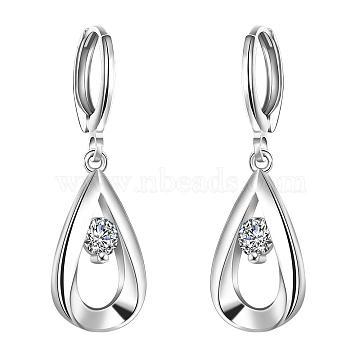 Elegant Fashion teardrop, Brass Cubic Zirconia Dangle Earrings, Clear, Silver, 35x11mm(EJEW-BB06457)