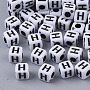 White Opaque Acrylic Beads, Cube with Black Alphabet, Letter.H, 5x5x5mm, Hole: 1.8mm; about 240pcs/20g