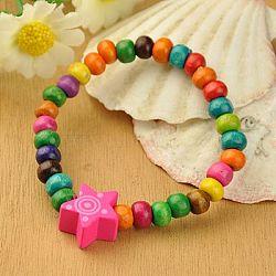 Bracelets en bois pour enfants, cadeaux de fête des enfants, avec des perles colorées étoiles, élastique, colorées, 45mm(BJEW-JB00766-12)