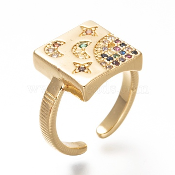Brass Micro Pave Cubic Zirconia Cuff Rings, Open Rings, Square with Star & Moon, Cadmium Free & Lead Free, Colorful, Real 18K Gold Plated, US Size 4, Inner Diameter: 15.5mm(RJEW-P018-14G)