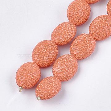 Handmade Polymer Clay Rhinestone Beads, Oval, Crystal, Coral, 22~23x17~18x10~12mm, Hole: 0.8mm(RB-S058-01F)