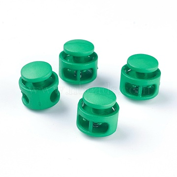 Plastic Spring Cord Locks, with Iron Findings, Platinum, Green, 17x17x16mm, Hole: 4x6.5mm(X-FIND-WH0039-01B)