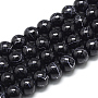 Drawbench Glass Beads Strands, Baking Painted, Dyed, Round, Black, 6~6.5mm, Hole: 1.5mm; about 145pcs/strand, 31.8 inches