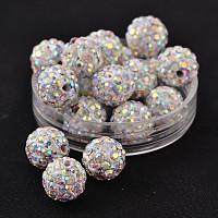 полимерной глины шариков Rhinestone, проложить шарики шарика диско, класс, вокруг, п.п. 15, Crystal AB, С. 15 (2.1~2.2 мм), 10 mm, отверстия: 1.8~2 mm
