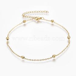 """Bracelets de cheville en 304 acier inoxydable, avec fermoir pince de homard, perles rondes et chaînes de câbles, or, 9"""" (230 mm); 1.5mm(AJEW-H013-01G)"""