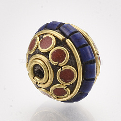 Handmade Indonesia Beads, with Brass Findings and Synthetic Turquoise, Bicone, Golden, Blue, 17x16mm, Hole: 1.5mm(X-IPDL-S053-186A)