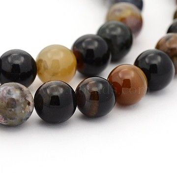 Natural Petrified Wood Round Bead Strands, 4mm, Hole: 1mm; about 98pcs/strand, 15.7 inches(G-P070-69-4mm)