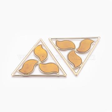 Light Gold Plated Iron Enamel Pendants, Triangle Pinwheel Big Pendants, Orange, 62.5x71.5x1mm, Hole: 1mm(IFIN-J087-01KCG)