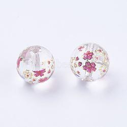 fleur photo perles de verre imprimé, arrondir, effacer, 10x9 mm, trou: 1.5 mm(GLAA-E399-10mm-E01)