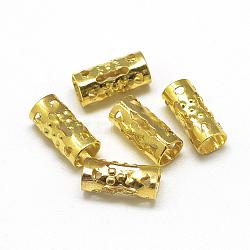Plated Iron Hair Coil Cuffs, Dread Cuff Coil, Column, Gold, 8.5x4mm, Hole: 3mm(IFIN-S696-01G)