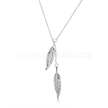 Trendy Brass Lariat Necklaces, Leaf, Silver Color Plated, 17.7 inches(45cm)(NJEW-BB21172)