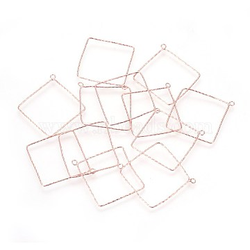 925 Sterling Silver Pendants, Square, Rose Gold, 36.5x34x0.8mm, Hole: 1.8mm(STER-P045-02RG)