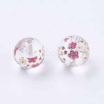 Flower Picture Printed Glass Beads, Round, Clear, 10x9mm, Hole: 1.5mm(GLAA-E399-10mm-E01)