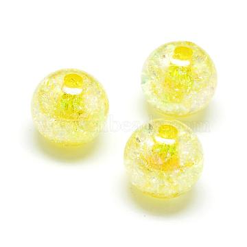 Crackle Style Acrylic Beads, AB Colour, Inside Color, Round, Yellow, 16mm, Hole: 4mm; about 225pcs/500g(MACR-S825-16mm-A)