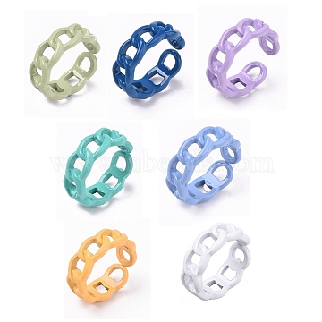 Spray Painted Alloy Cuff Rings, Open Rings, Cadmium Free & Lead Free, Curb Chain Shape, Mixed Color, US Size 7 1/4(17.5mm)(X-RJEW-T011-29-RS)