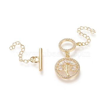 Brass Micro Pave Cubic Zirconia Ring Toggle Clasps, Long-Lasting Plated, with Extender Chains and Tree of Life Pendants, Clear, Real 18K Gold Plated, Bar: 18x6.5x2mm, Ring: 13.8x11.7x1.7mm, Hole: 2.5mm Extender Chain: 38.5mm(KK-M108-H01)
