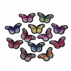 Tissu de broderie informatisé fer/coudre sur les patchs, accessoires de costumes, appliques, papillon, couleur mixte, 33x53.5x1.5 mm; environ 12 couleurs, 1 couleur / 10pcs, 120 pcs /sachet (AJEW-S076-025)