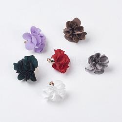 Décorations de pendentif en tissu, avec les accessoires acryliques, fleur, couleur mixte, 25~30x28~35mm, Trou: 2mm(X-FIND-P026-D)