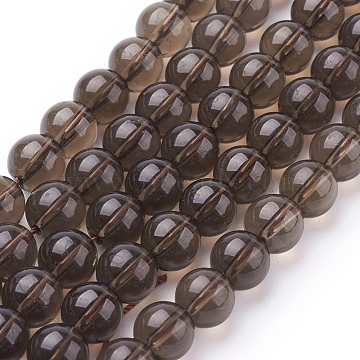Gemstone Beads Strands, Smoky Quartz, Round, 8mm, Hole: 1mm(X-G-C175-8mm-1)
