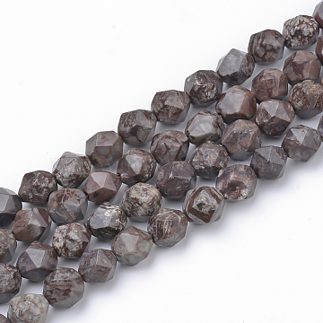 Natural Red Snowflake Obsidian Beads Strands, Star Cut Round Beads, Faceted, 6~6.5x6mm, Hole: 1mm; about 58pcs/strand, 15.9''(G-S149-31-6mm)