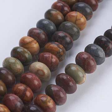 Natural Picasso Stone/Picasso Jasper Beads Strands, Rondelle, 8x5~5.5mm, Hole: 0.8mm, about 70~74pcs/strand, 14.8  inches~15.3 inches(37.5~39cm)(X-G-P354-03-8x5mm)