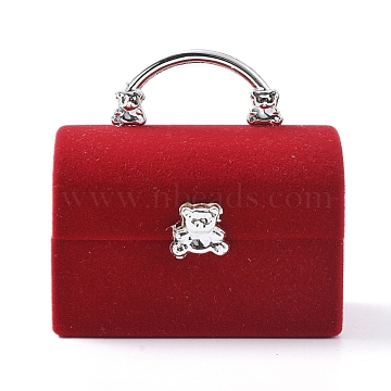 Lady Bag with Bear Shape Velvet Jewelry Boxes, Portable Jewelry Box Organizer Storage Case, for Ring Earrings Necklace, Red, 5.7x4.4x5.5cm(VBOX-L002-E02)
