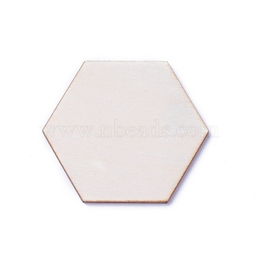 Wood Cabochons, Hexagon, BurlyWood, 8.5x9.5x2.5mm(X-WOOD-I004-55A)