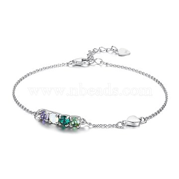 925 Sterling Silver Link Bracelets, with Austrian Crystal, Platinum, Mixed Color, 6-3/4inches(17cm)(BJEW-BB34043-A)
