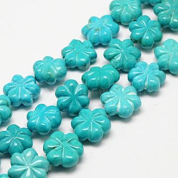 15mm DarkTurquoise Flower Howlite Beads