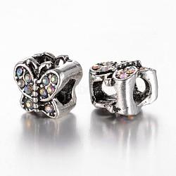 Perles européennes en alliage avec strass, papillon, Perles avec un grand trou   , argent antique, cristal ab, 9x10x9mm, Trou: 4~5mm(ALRI-G041-06)