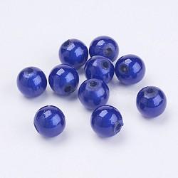 Perles acryliques laquées, perles de miracle, rond, bleu, 8mm, Trou: 1.8mm(X-PB9284-8)