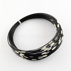 Steel Wire Bracelet Cord DIY Jewelry Making, with Brass Screw Clasp, Black, 225x1mm(X-TWIR-R004-24)