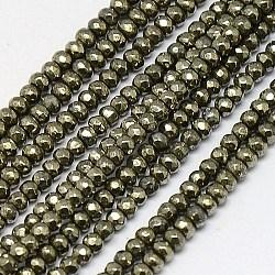 """Chapelets de perles de pyrite naturelle , rondelle, facette, 3x2mm, trou: 0.5mm; environ 200 pcs/chapelet, 15.74""""(G-L051-3x2mm-01)"""