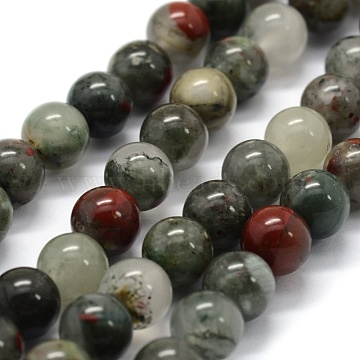 Natural African Bloodstone Beads Strands, Heliotrope Stone Beads, Round, 10mm, Hole: 1mm; about 38pcs/strand, 14.9 inches(38cm)(X-G-G763-08-10mm)