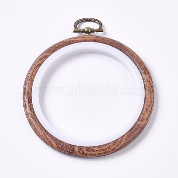 Plastic Cross Stitch Embroidery Hoops, Imitation Wood, Sewing Tools Accessory, Ring, BurlyWood, 121x102.5x9mm, Hole: 8.5x17.5mm(X-FIND-WH0052-11)
