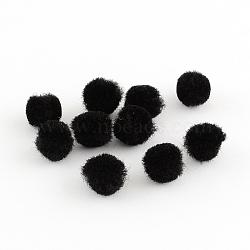 Perles rondes pompon de laine, noir, 30mm(X-AJEW-S006-3mm-09)